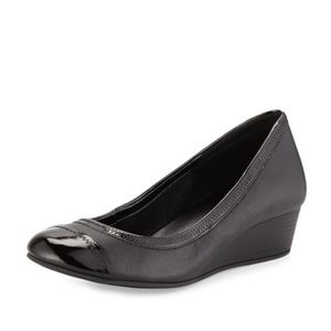 COLE HAAN NIKE AIR BLACK LEATHER BALLET WEDGES 7.5